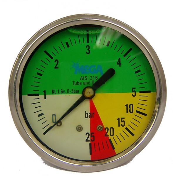 Manometer, Glyzerinmanometer aus Edelstahl bis 25 bar